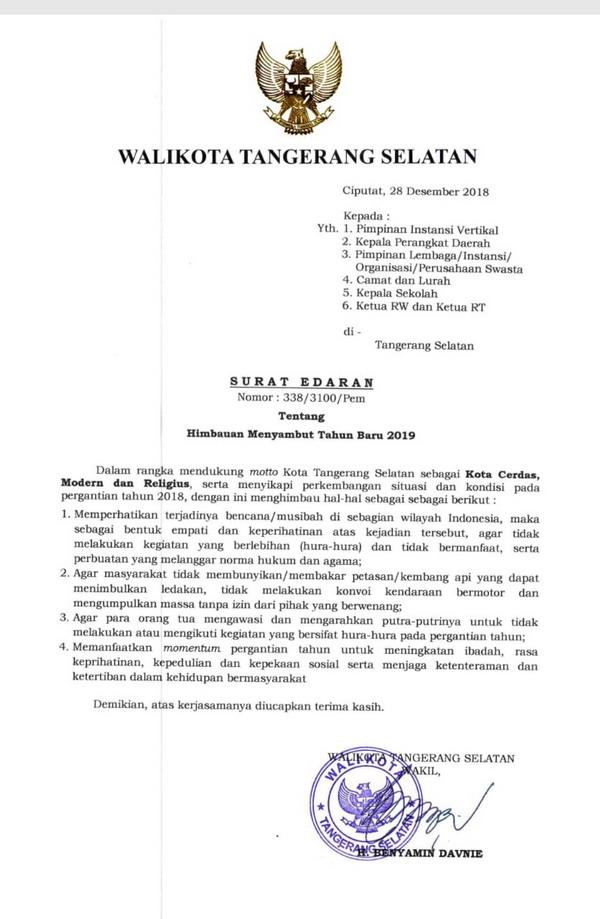 Pemkot Tangsel Keluarkan Surat Edaran Soal Perayaan Tahun