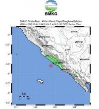 Gempa 4,7 SR Guncang Bengkulu Selatan