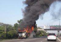 Bus Terbakar di Ruas Tol Lingkar Luar Jakarta