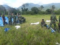 TNI Dirikan 104 Tenda Huntara untuk Pengungsi di Desa Bangga Sigi