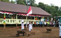 Babi Hutan Masuk ke Lapangan saat Siswa SD Upacara HUT Ke-74 RI