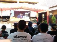 Relawan Soloraya Nobar Pelantikan Presiden di Pasar yang Dibangun Jokowi