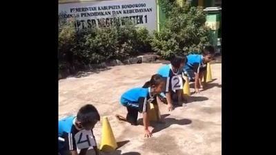 Heboh Bocah SD yang Telat Start saat Ujian Olahraga, Tonton Video Kocaknya!