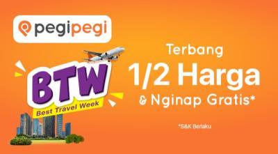 Promo Best Travel Week,  Pegipegi Hadirkan Diskon Terbang Setengah Harga & Nginap Gratis