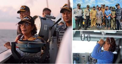 Gaya Nyentrik Menteri Susi Pudjiastuti Tangkap Kapal Asing di Laut Natuna