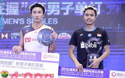 Jelang Jumpa di Final China Open 2019, Ini Rekor Pertemuan Anthony vs Momota