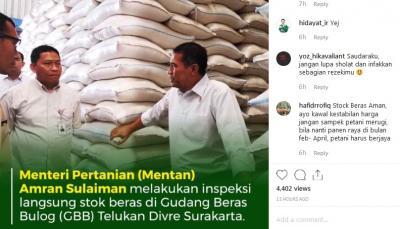 Stok Beras Bulog Melimpah, Mentan: Tidak Perlu Impor