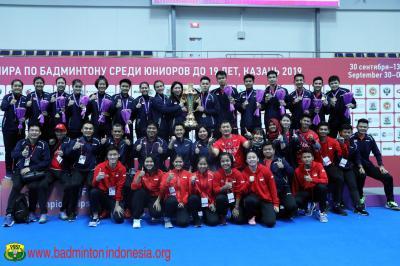 Bersinar di Kejuaraan Dunia Bulu Tangkis Junior 2019, Indonesia Terima Penghargaan