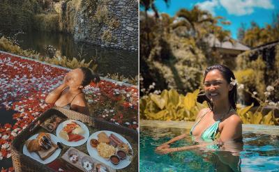 Intip Marion Jola Mandi Kembang Sambil Nikmati Floating Breakfast di Bali