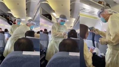 Cegah Wabah Meluas, Petugas Medis Tiongkok Lakukan Scanning Virus Korona di Pesawat