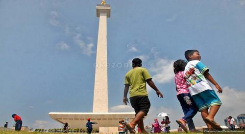 Kawasan Monas, Jakarta, cerah berawan. (Ilustrasi/Dok Okezone)