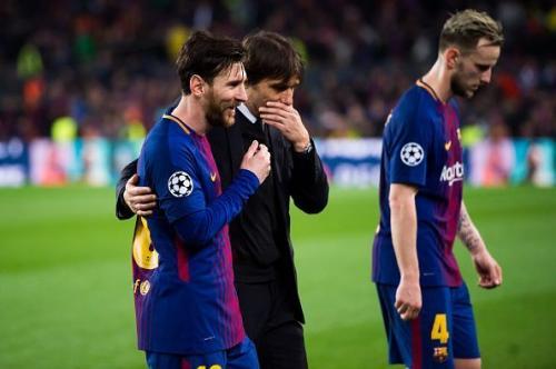 Lionel Messi dan Antonio Conte