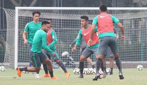 Suasana latihan Timnas Indonesia U-23