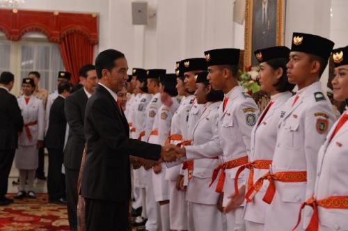 Paskibraka bersama Presiden Jokowi