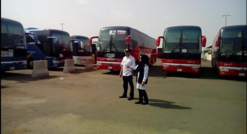 Bus jamaah haji Indonesia di Tanah Suci. (Foto: Okezone)