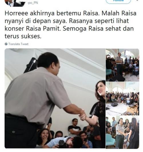 Sutopo bertemu Raisa
