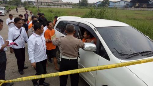 Rekonstruksi pembunuhan Dufi di Bogor. (Foto: Putra RA/Okezone)