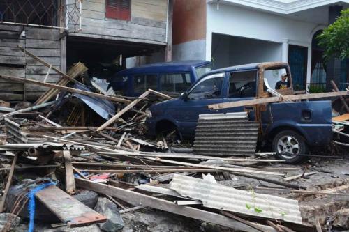 Dampak tsunami di Banten.