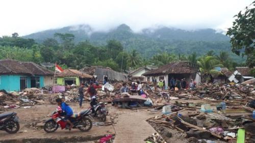 Dampak tsunami Selat Sunda. (Foto: BBC News Indonesia)