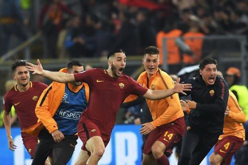 Kostas Manolas saat bawa AS Roma comeback atas Barcelona