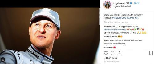 Ucapan selamat ulang tahun Lorenzo kepada Schumacher