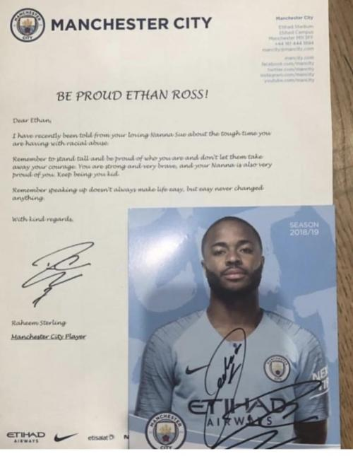 Surat Sterling untuk Ethan (Foto: Twitter/@TheMCFCView)