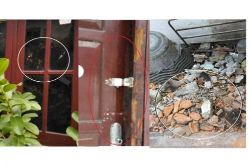 Kondisi rumah Iwan Walet yang mengalami kerusakan jendela, pintu, dan genting genting yang pecah karena lemparan batu. (Solopos)