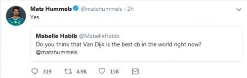 Mats Hummels akui Virgil Van Dijk sebagai bek terbaik di dunia (Foto: Twitter/@matshummels)