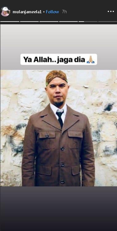 Mulan Jameela beri dukungan doa untuk Ahmad Dhani jelang sidang ujaran kebencian di Surabaya. (Foto: Instagram)
