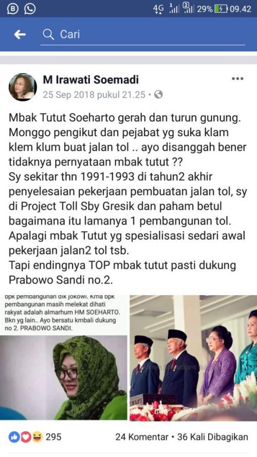 CEK Fakta Tutut Soeharto Sindir Jokowi soal Pembangunan Tol (foto: Ist)