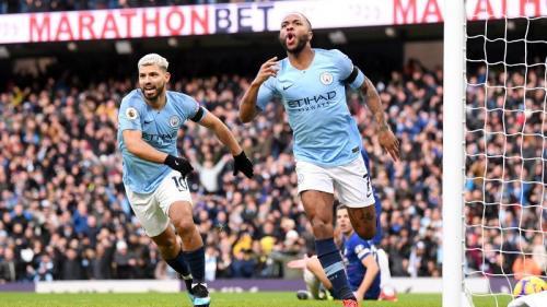 Raheem Sterling bawa Man City unggul cepat (Foto: laman resmi Premier League)