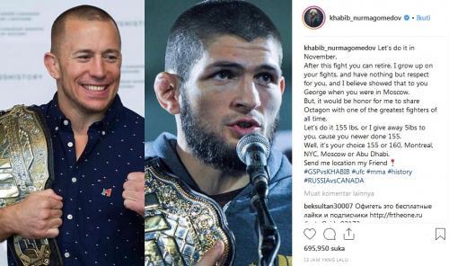 Ajakan Khabib Nurmagomedov untuk bertarung dengan Georges St-Pierre (Foto: Instagram Khabib Nurmagomedov)
