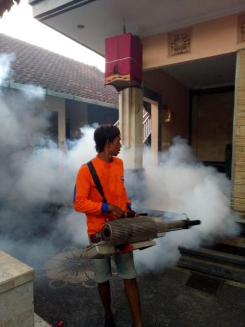 DPW Rescue Perindo Bali bersama Dinas Kesehatan Gelar Fogging di Gianyar (foto: Syaiful Islam/Okezone)