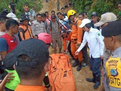 Evakuasi korban longsor di areal penambangan emas di Bolaang Mongondow (Foto : Twitter/@Sutopo_PN)