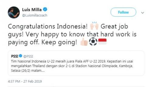 Ucapan selamat Luis Milla untuk Timnas Indonesia U-22
