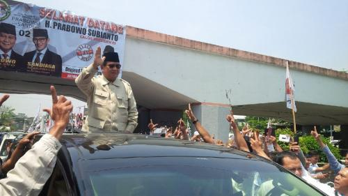 Prabowo Subianto kunjungi Bandung, Jawa Barat. (Foto : CDB Yudistira/Okezone)