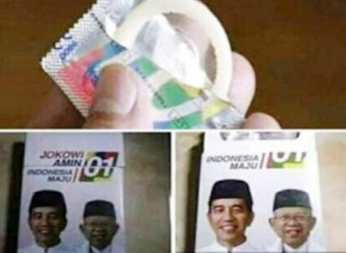 Bungkus kondom bergambar Jokowi-Ma'ruf. (Ist)