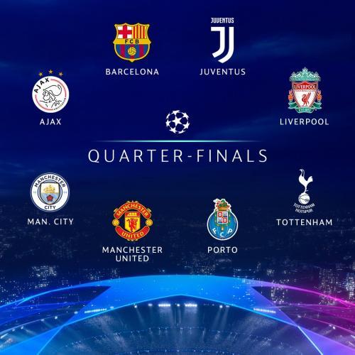 Kontestan babak perempatfinal Liga Champions 2018-2019 (Foto: Champions League/Twitter)