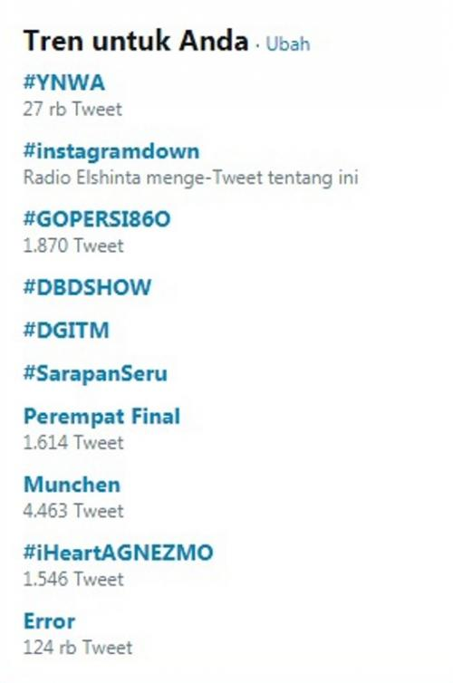 Trending topic Facebook dan Instagram down. (Foto: Twitter.com)