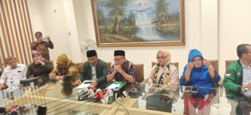 DPP PPP konpres soal OTT Ketum Romahurmuziy. (Foto : Muhamad Rizky/Okezone)