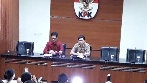 Konferensi pers KPK soal OTT Romahurmuziy. (Foto: Arie Dwi Satrio/Okezone)