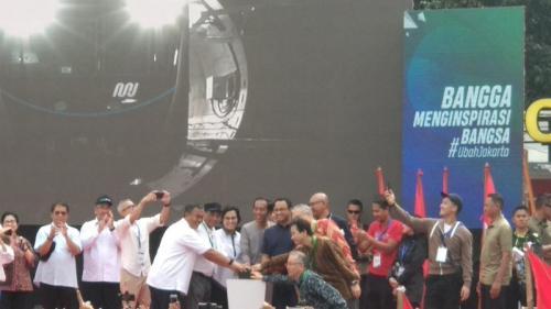 Jokowi resmikan MRT fase I di Bundaran HI. (Foto : Fadel Prayoga/Okezone)