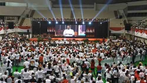 Kampanye terbuka Jokowi di Malang. (Foto: Avirista Midaada/Okezone)