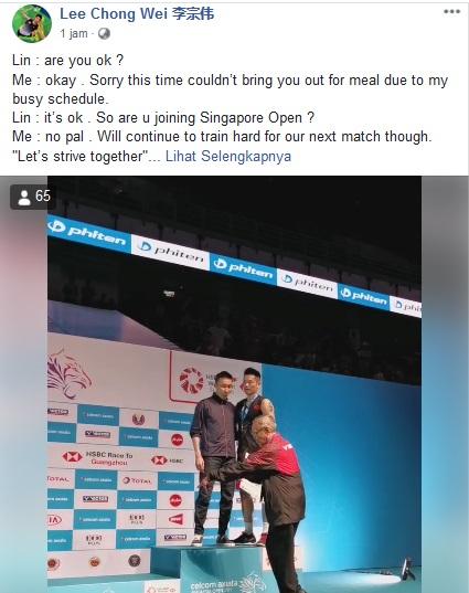 Lee Chong Wei berbicara dengan Lin Dan (Foto: Facebook Le Chong Wei)