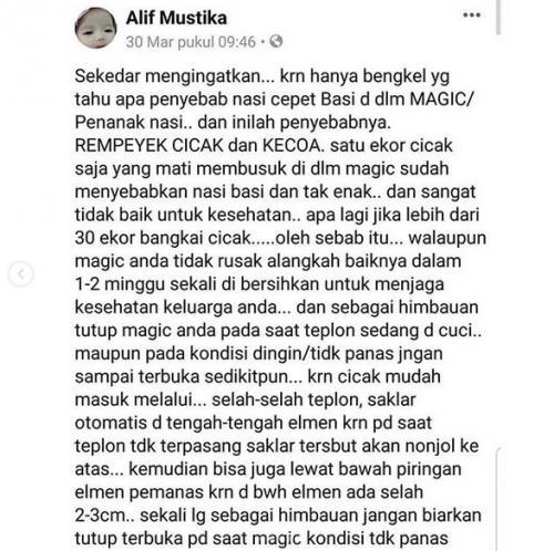 Alif mewanti-wanti untuk tidak membiarkan tutup magic jar terbuka saat kondisi sedang tidak panas