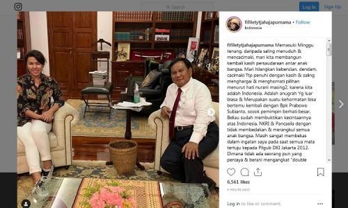 Adik Ahok ketemu Prabowo. (Foto : Instagram/fifiletytjahajapurnama)