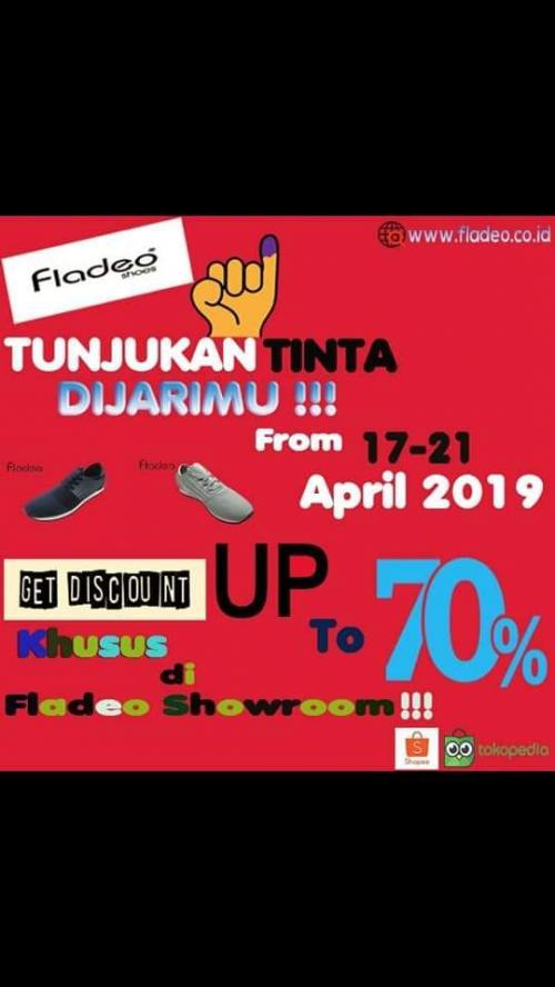 Discount ini diberlakukan pada showroom brand fladeo, discount yang fladeo hadirkan sampai dengan 70%.
