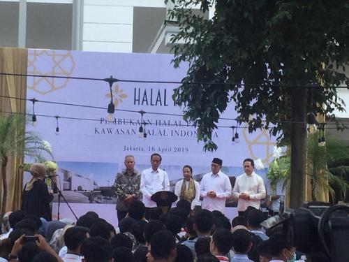 Presiden Jokowi saat resmikan Halal Park di GBK. (Foto : Fakhrizal Fakhri/Okezone)