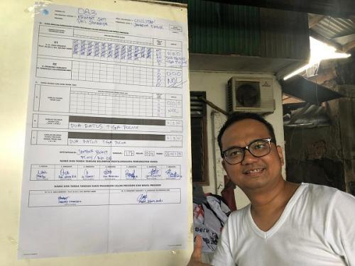 Jokowi-Ma'ruf Amin Menang 100 Persen di TPS 083 Cililitan (Foto : Arie Dwi Satrio/Okezone)