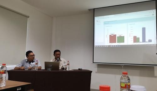 Lembaga survei Median merilis hasil sementara quick count 2019. (Foto : Pernita Hestin/Okezone)